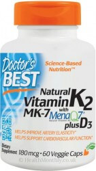 Doctor's Best Natural Vitamin K2 plus D3 with MenaQ7®  60 VC